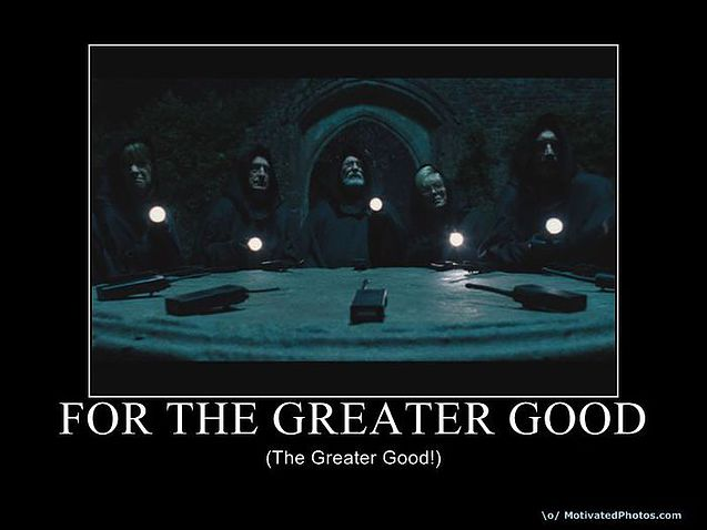 """An image from the film """"Hot Fuzz"""" showing robed characters sitting around a ceremonial table, holding candles, and chanting the phrase """"For The Greater Good"""""""